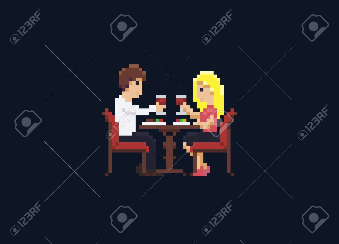 Pixel Art Couple At Romantic Dinner In Restaurant Royalty Free Cliparts Vectors And Stock Illustration Image 70843597