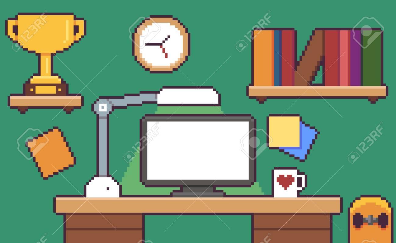 pixel art desk room interior with desk monitor golden cup