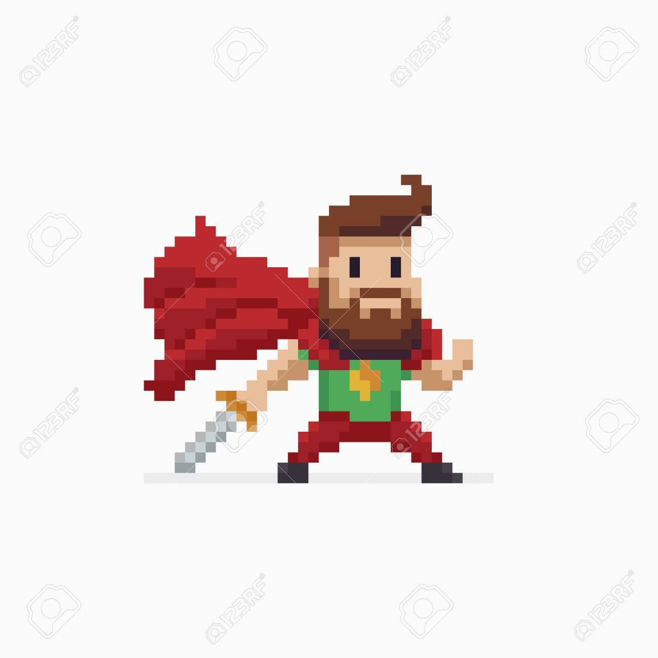 Pixel Arte Barbudo Personaje De Héroe Con El Cabo Rojo Y La Espada ...