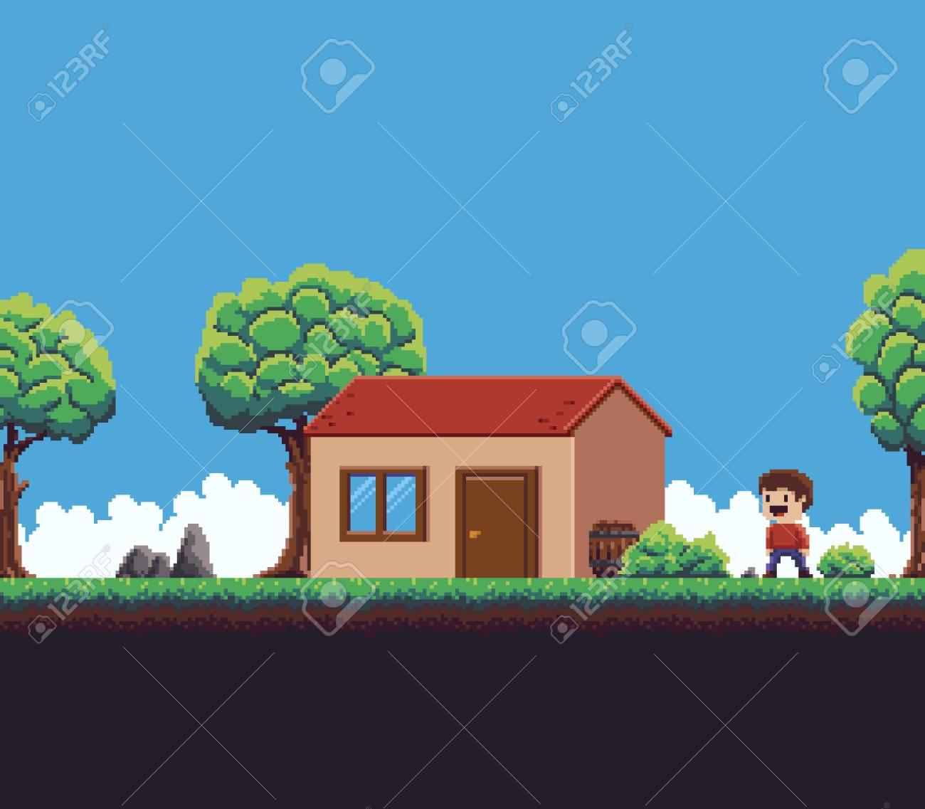 Escena De Juego De Pixel Art Con Tierra, Hierba, Cielo De árbol ...