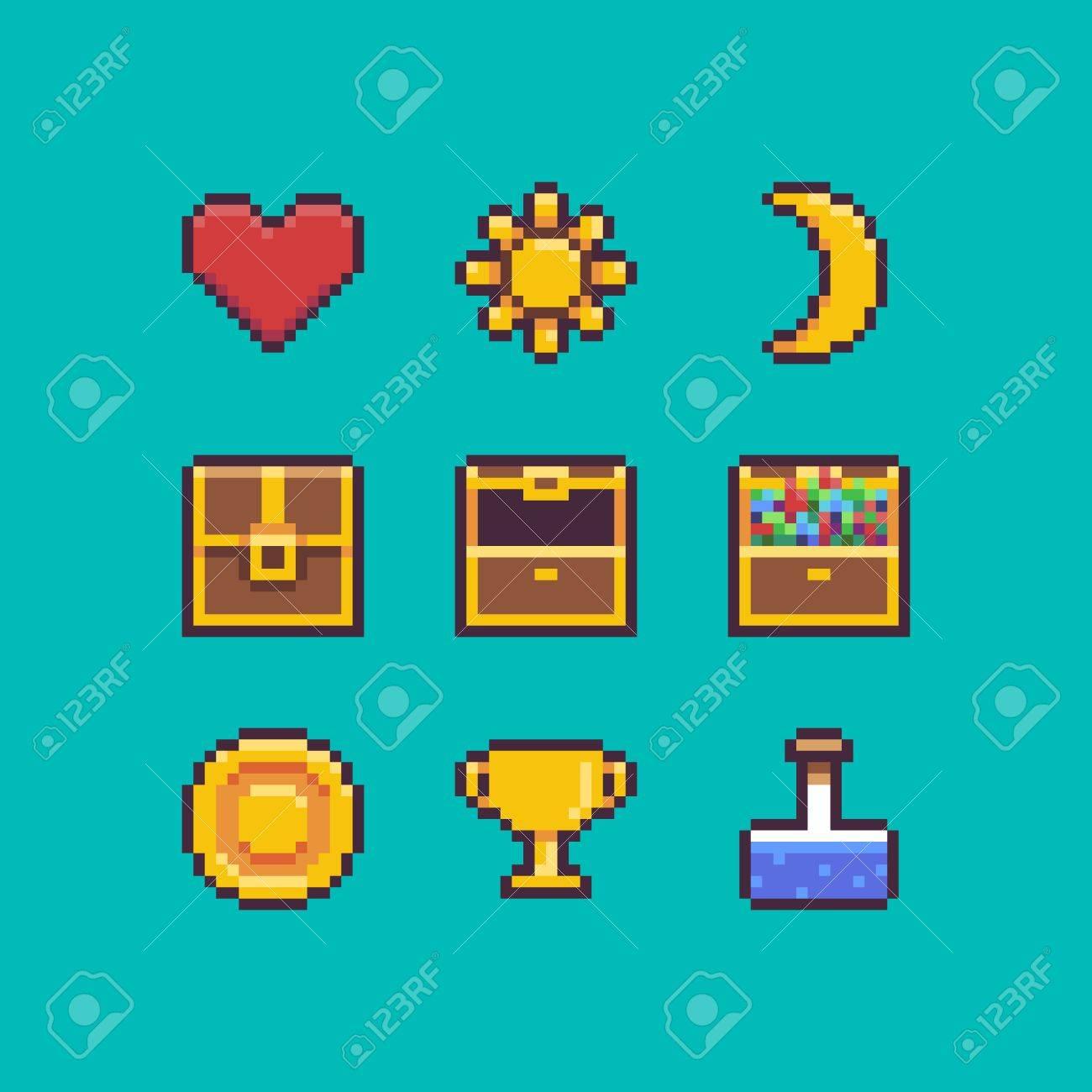 Pixel Art Coeur Poitrine Pièce De Monnaie Goblet Or Icônes De Soleil Et De La Lune Avec Des Contours