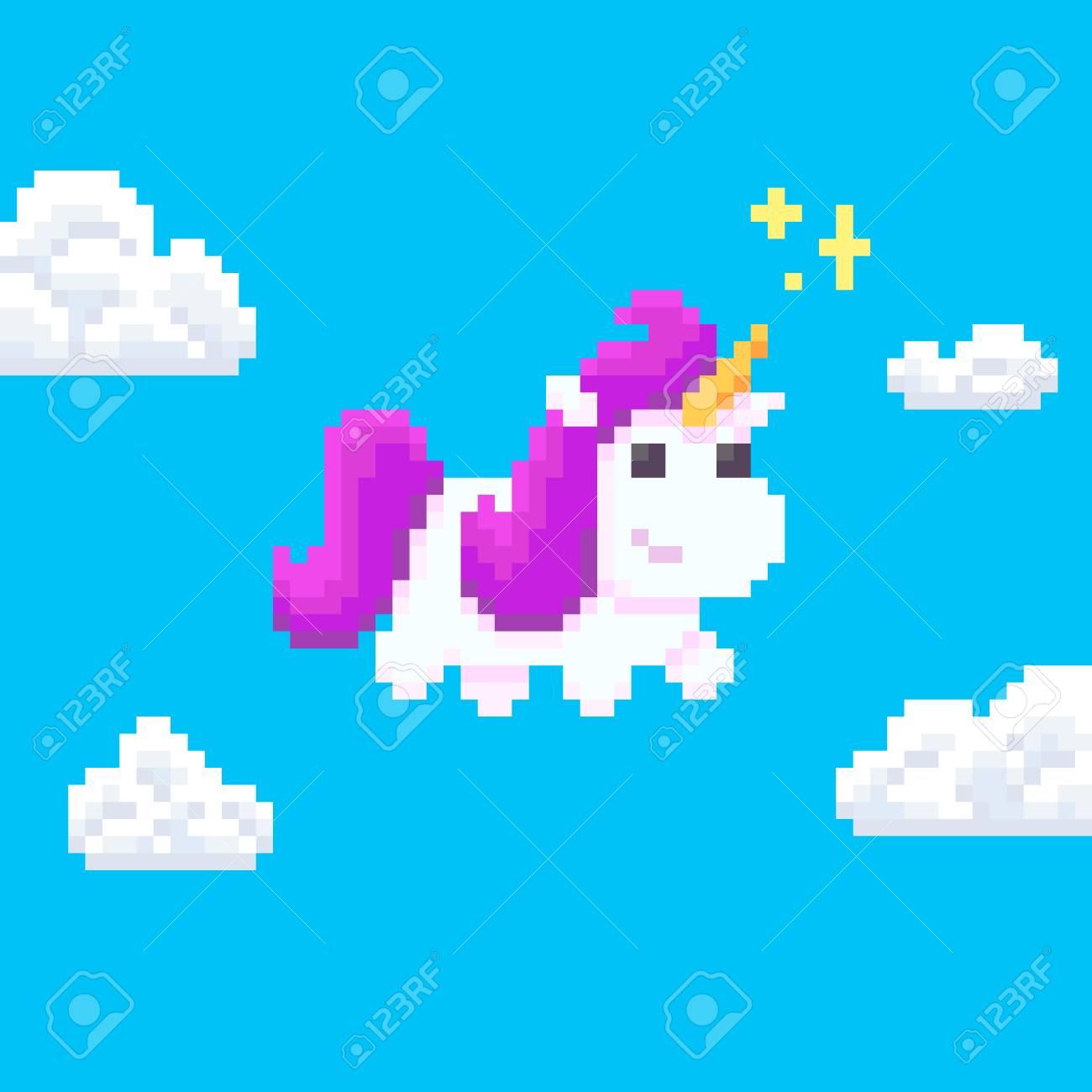 Pixel Art Licorne Avec Des étincelles Magiques Volant Dans Le Ciel Avec Des Nuages