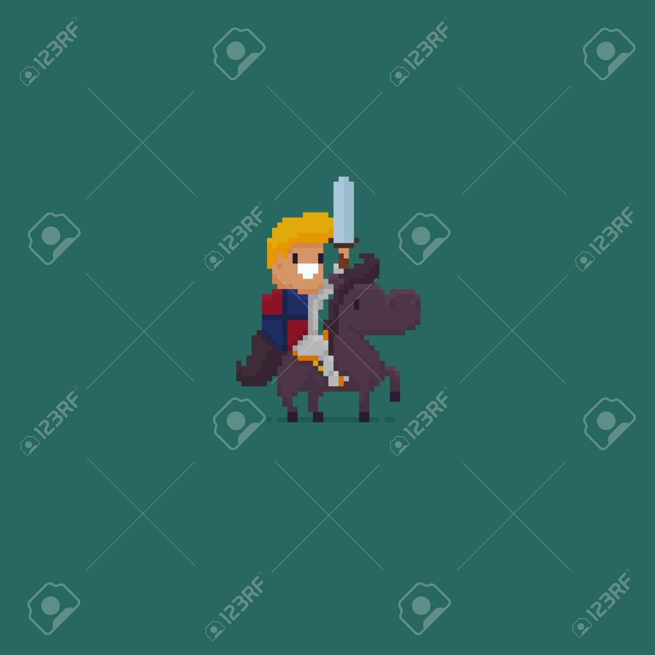 Pixel Art Chevalier Avec épée Assis Assis Sur Un Cheval