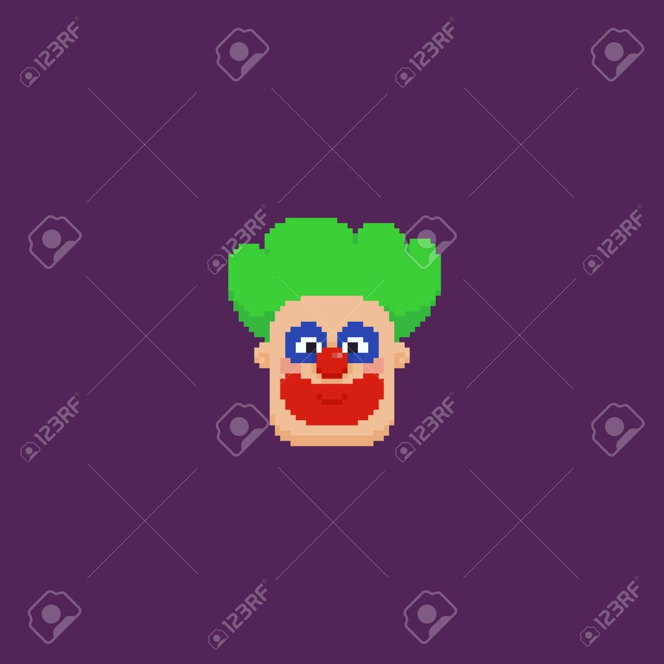 Pixel Art Tête De Clown Aux Cheveux Verts