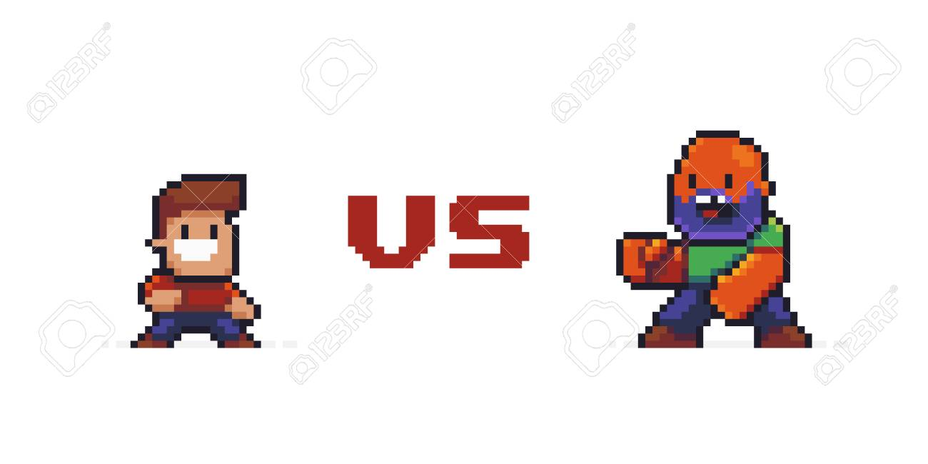 Pixel Art Confrontation Of Two Characters Good Happy Small Guy