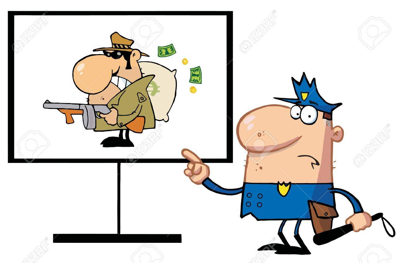 Police Man Pointing To A Robber Sign Stock Vector - 6792848