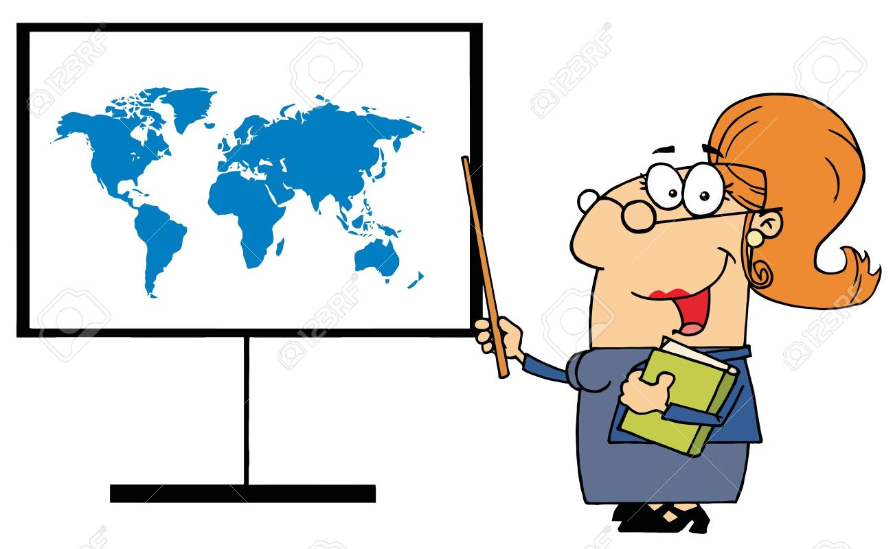 Deciding stock illustrations royalty free gograph - Teachers Meeting Happy Female Teacher Pointing To A Map Board Illustration