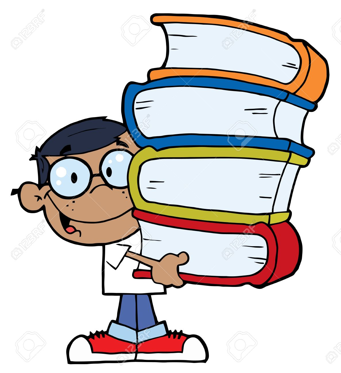 Smart African American School Boy Carrying A Stack Of Books Stock Vector - 6792698