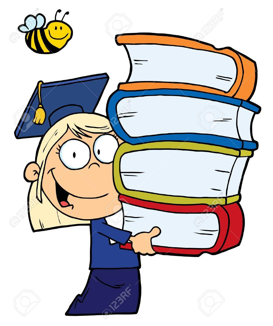 Bee Over A Caucasian Graduate School Girl Carrying A Stack Of Books Stock Vector - 6792771