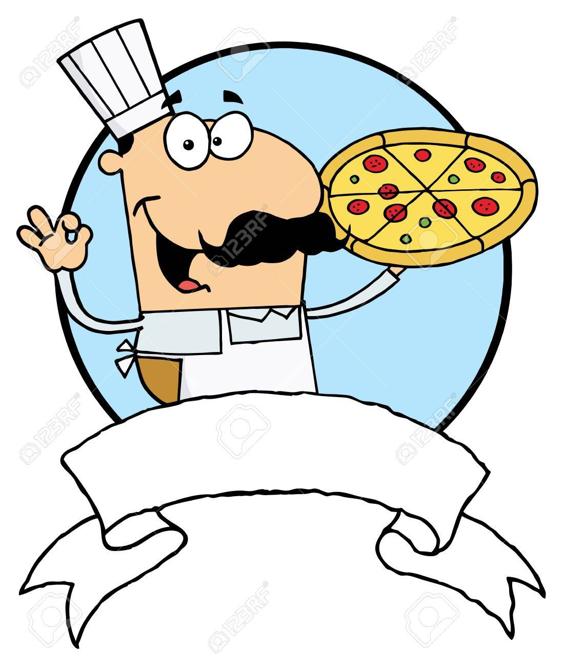 Male Pizzeria Chef Holding A Pizza Pie With A Blank Banner And Blue Circle Stock Vector - 6792827