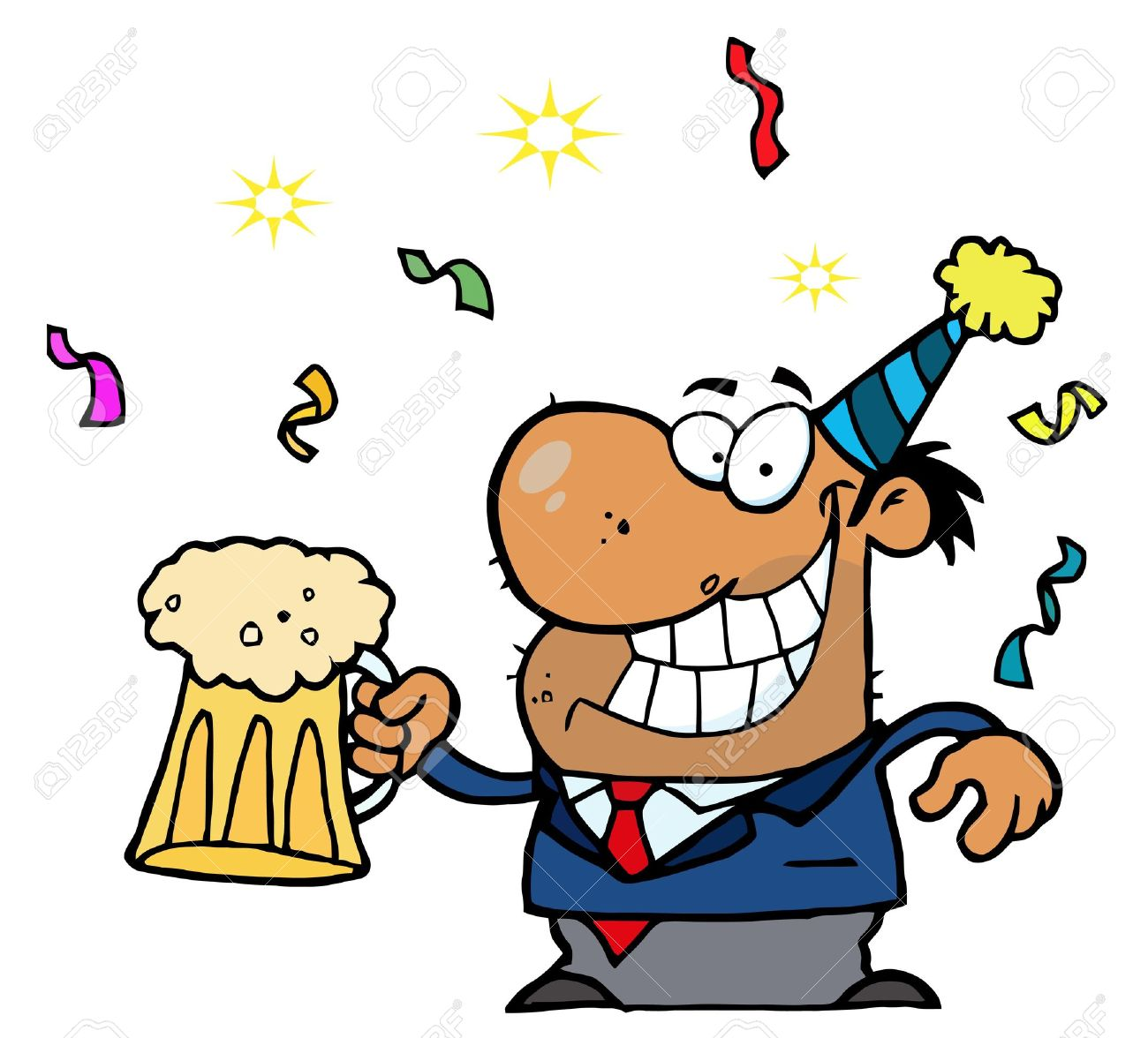 Drunk New Years Party Guy Holding Beer Stock Vector - 6792761