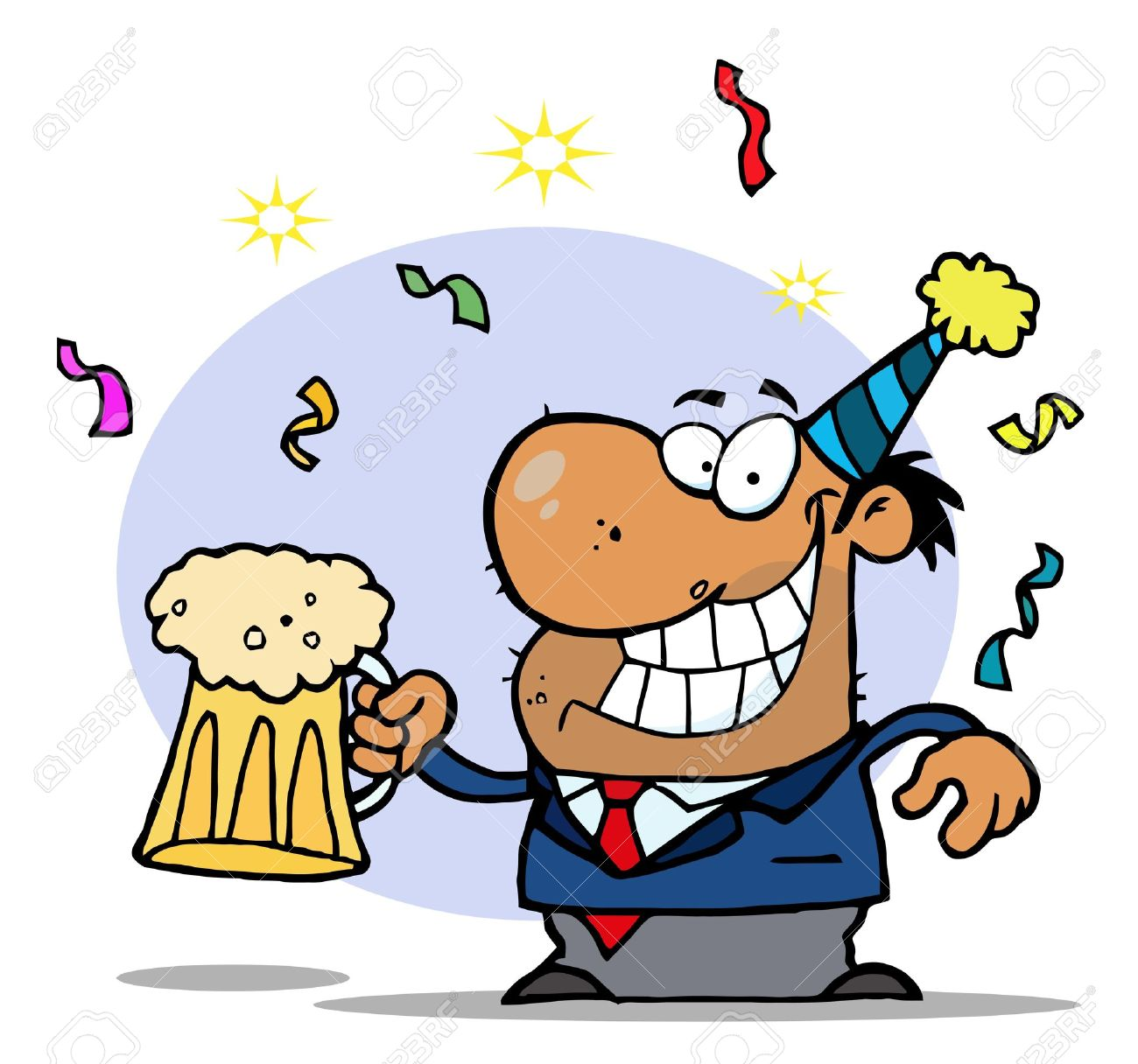 Men holding the word party concept 3d illustration stock photo - Drunk Cartoon Drunk New Years Party Man Holding Beer Illustration