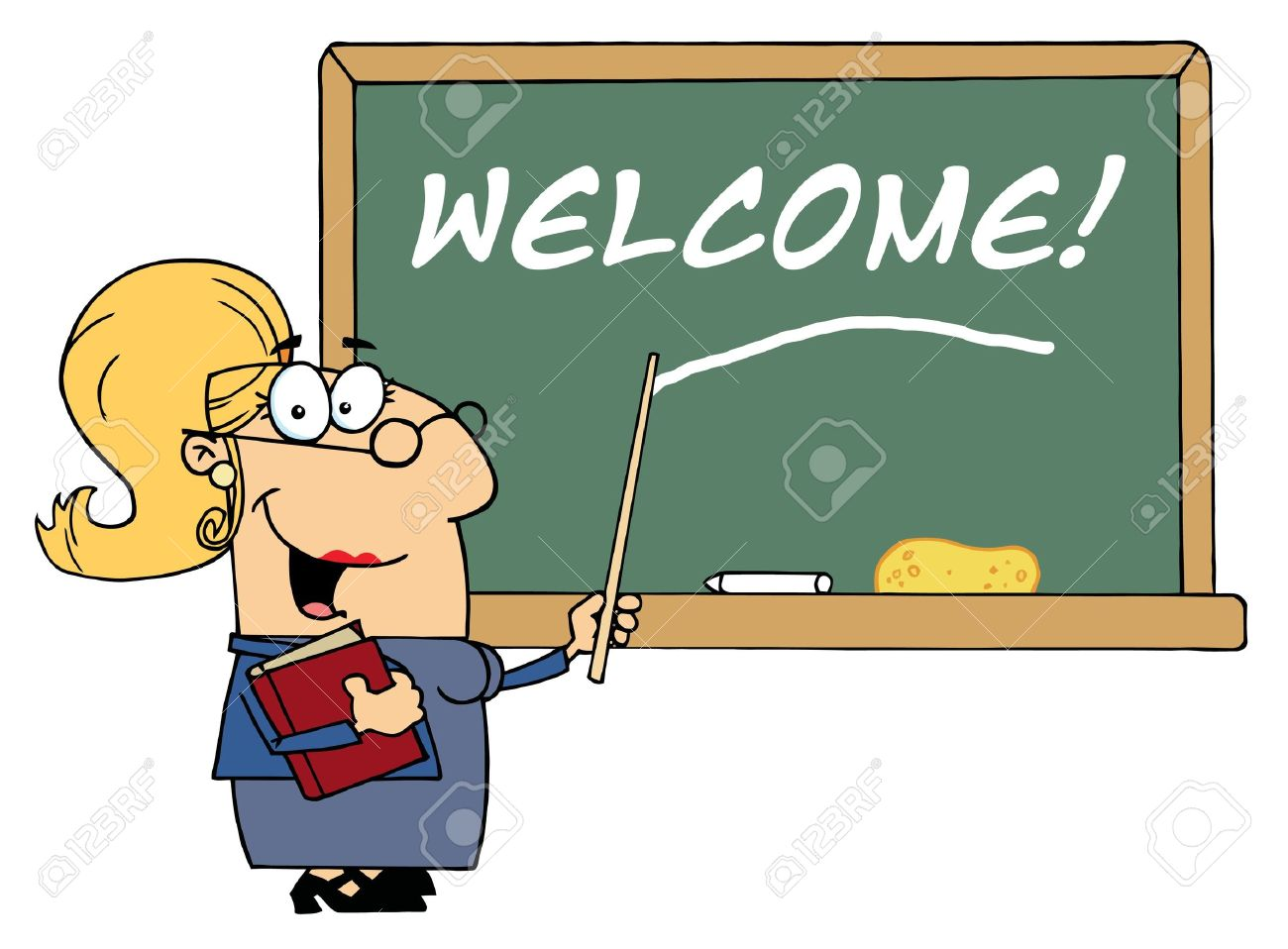Blond Female School Teacher Pointing To Welcome On A Chalkboard Stock Vector - 6792748