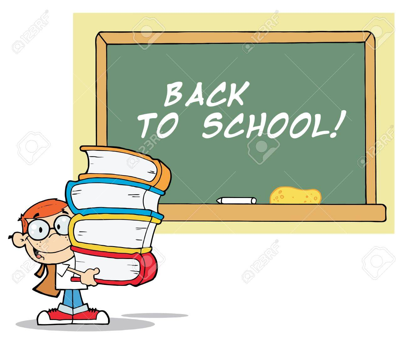 School Boy Carrying Text Books By A Back To School Chalk Board Stock Vector - 6792850