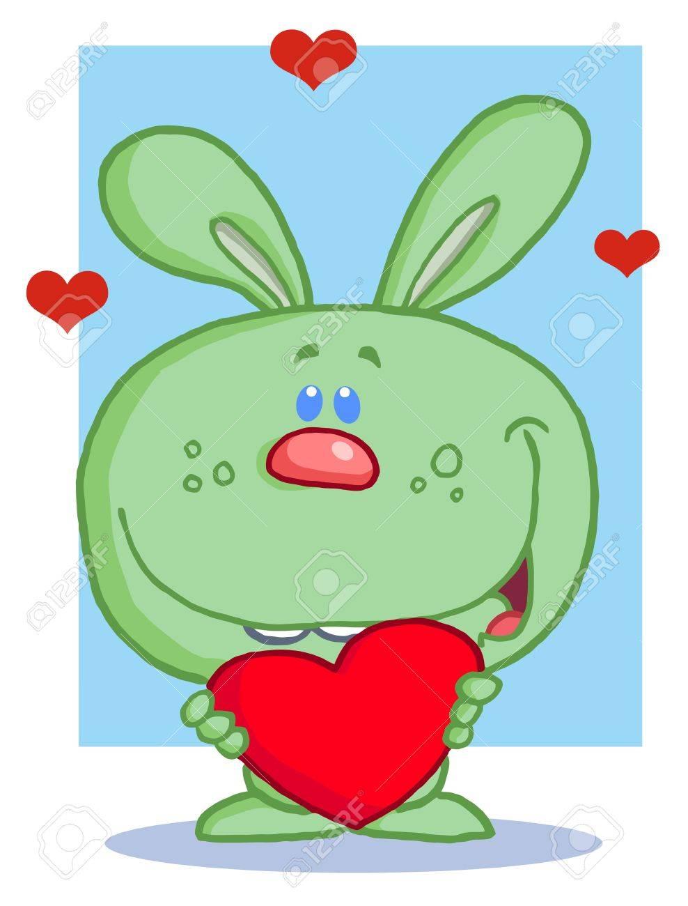 Happy Romantic Green Rabbit With Heart Stock Vector - 6792483