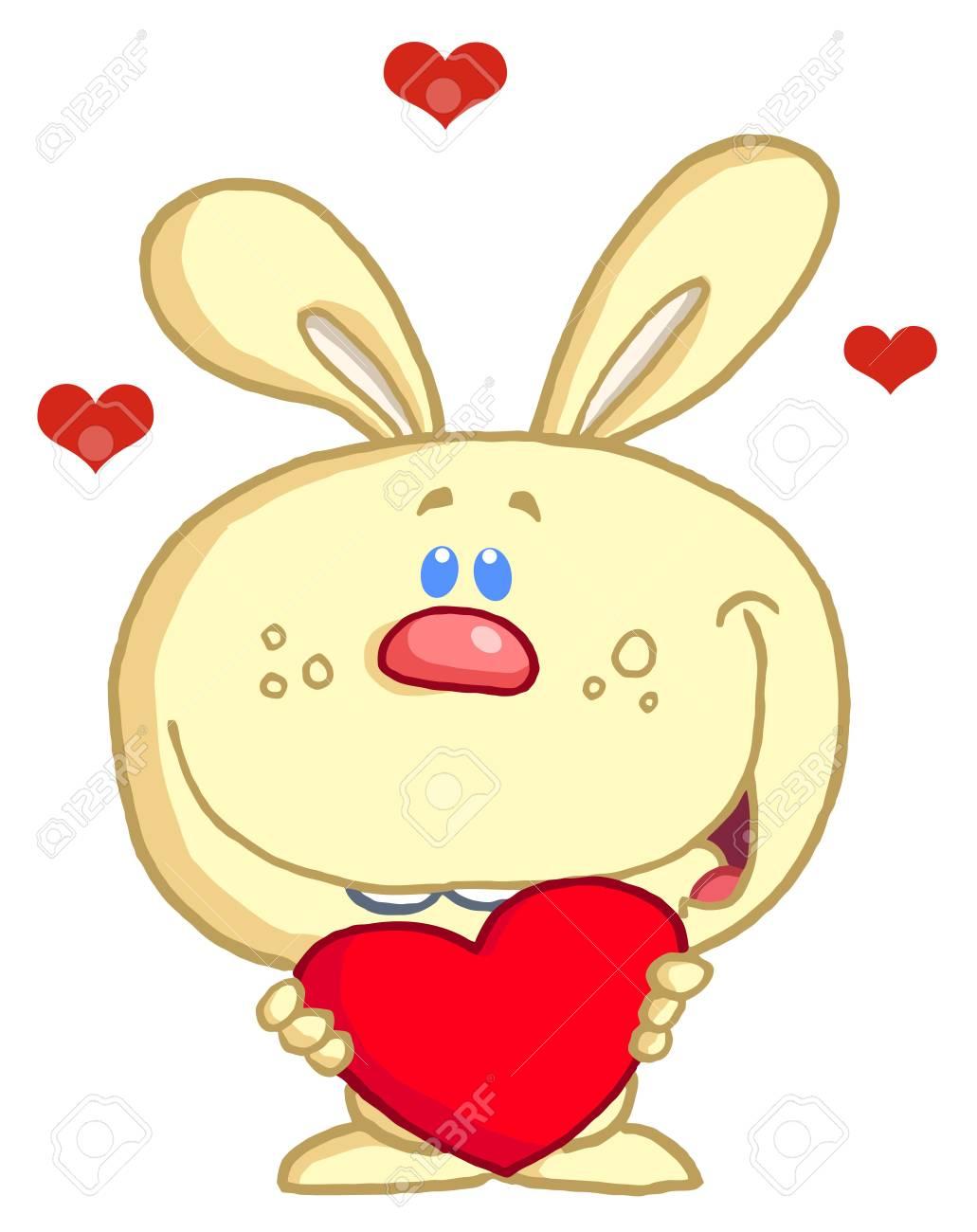 Romantic Yellow Rabbit With Heart Stock Vector - 6792732