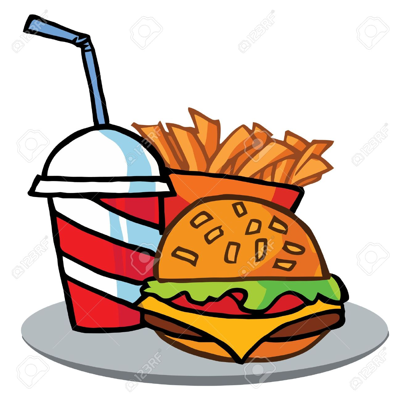 Cola, Fries And Cheeseburger Stock Vector - 6792622