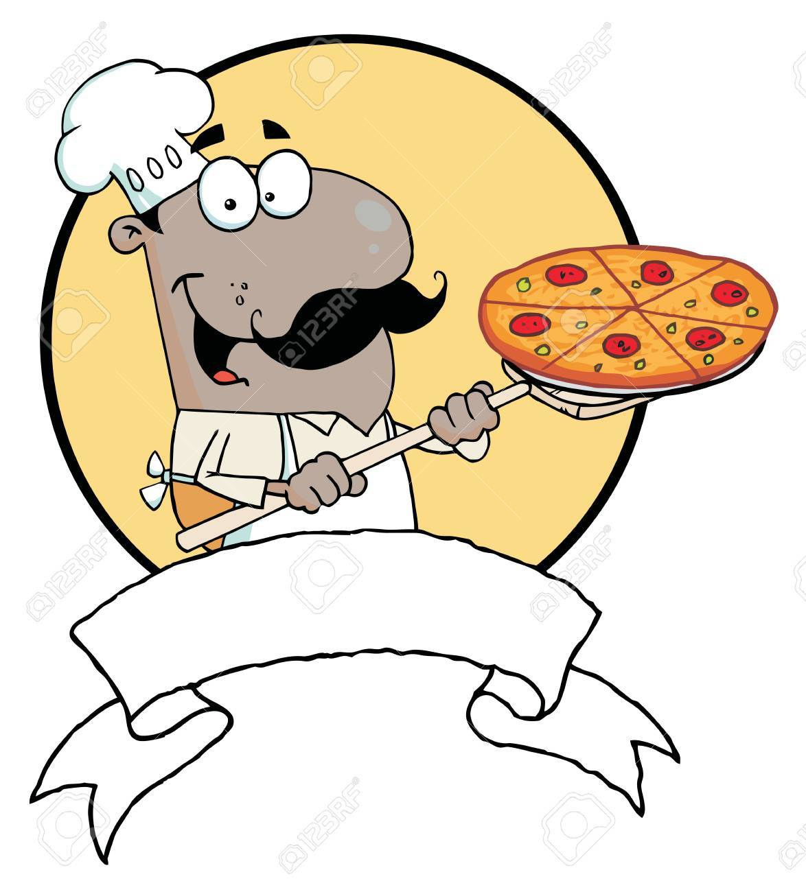 Cartoon Proud African American Chef Inserting A Pepperoni Pizza Stock Vector - 6792882