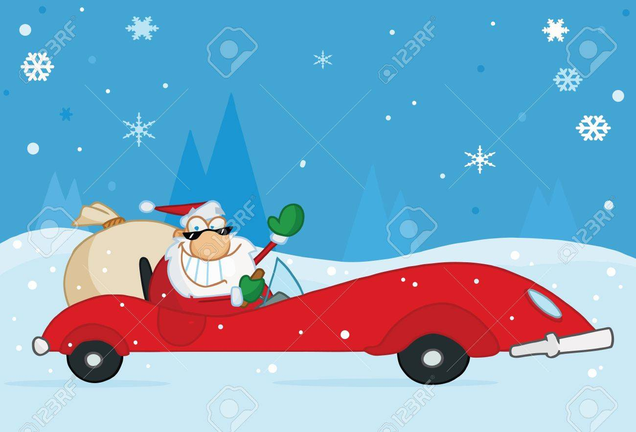 Jolly Christmas Santa Waving And Driving His Convertible Red Sports Car In The Snow Stock Vector - 6906800