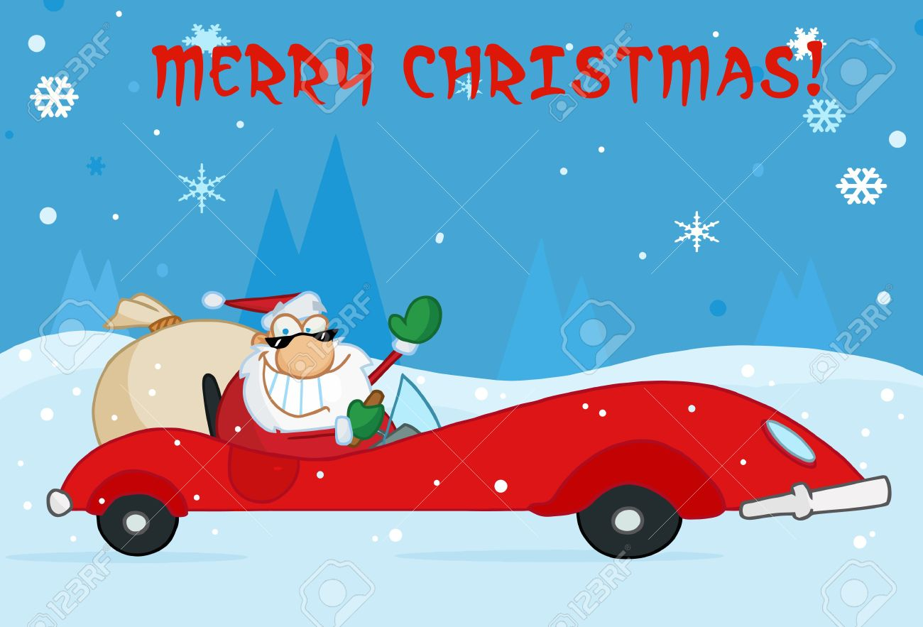 Christmas Sports Car.Merry Christmas Greeting With Santa Driving His Red Sports Car