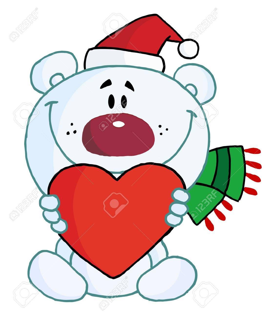 Sweet Christmas.Sweet Christmas Polar Bear Holding A Heart