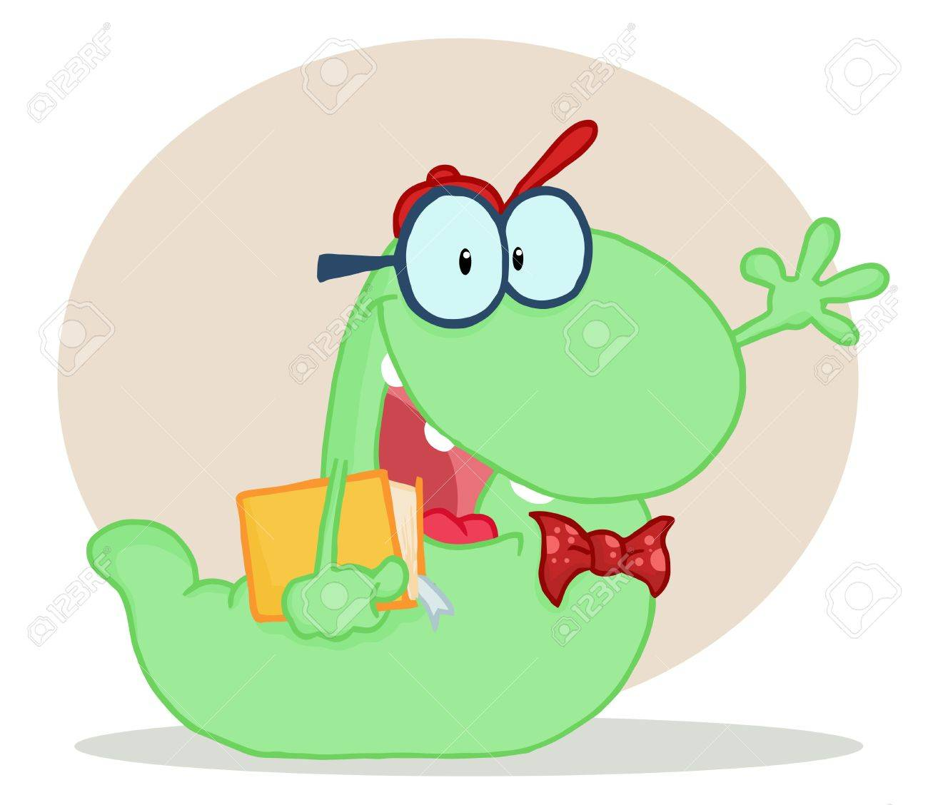 Friendly Green School Worm Student Waving And Carrying A Book, With A Beige Circle And Shadow Stock Vector - 6905967