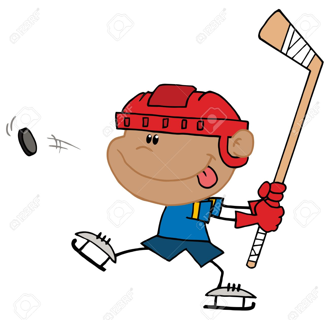 Boy Sticking His Tongue Out And Hitting A Hockey Puc Stock Vector - 6905992