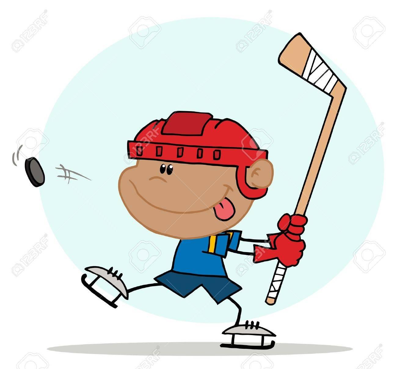 Athletic Hispanic Boy Preparing To Whack A Hockey Puck Stock Vector - 6906029