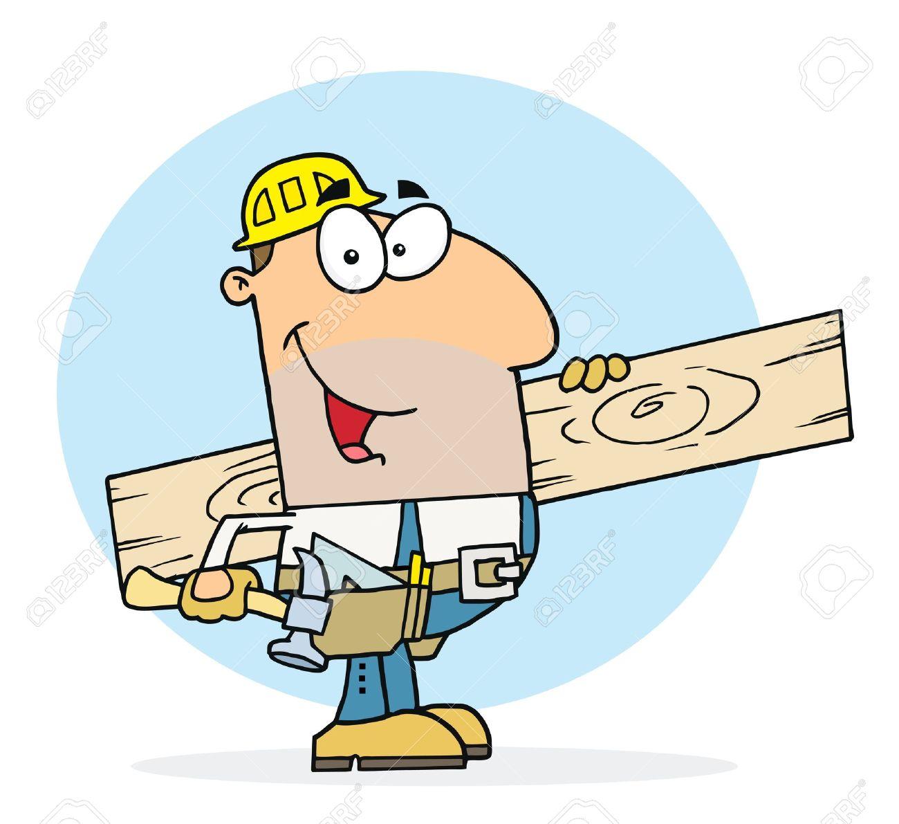 Caucasian Worker Man A Wood Plank Stock Vector - 6906114