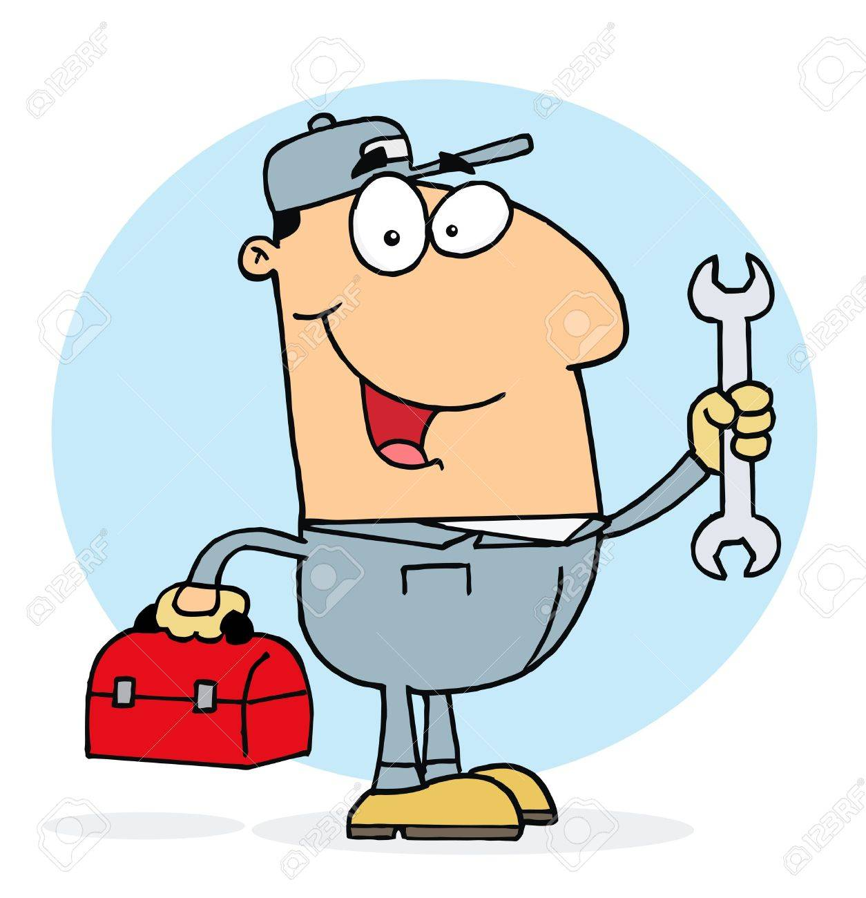 Happy Caucasian Mechanic Guy With A Tool Box And Wrench Stock Vector - 6906176