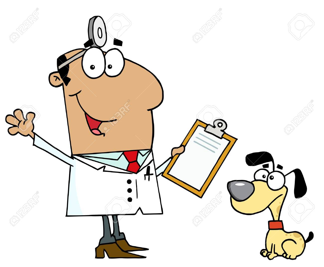 hispanic cartoon dog veterinarian man royalty free cliparts