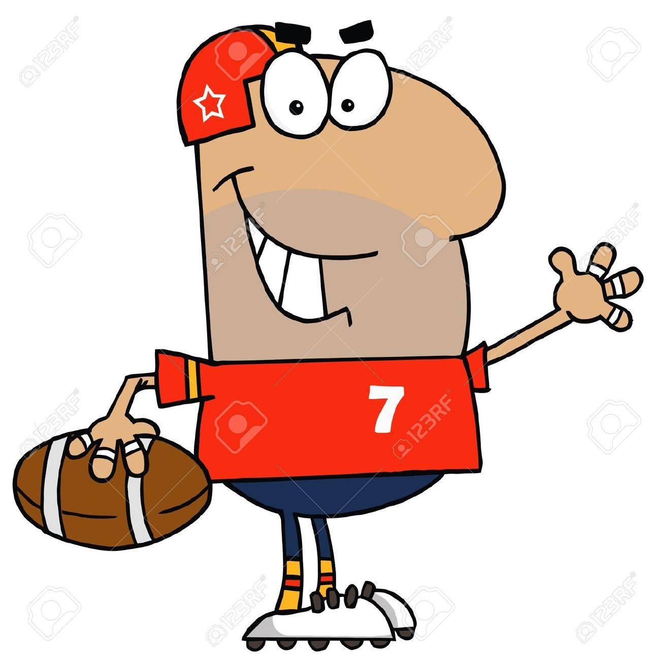 Hispanic Cartoon Footballer Man Stock Vector - 6905679
