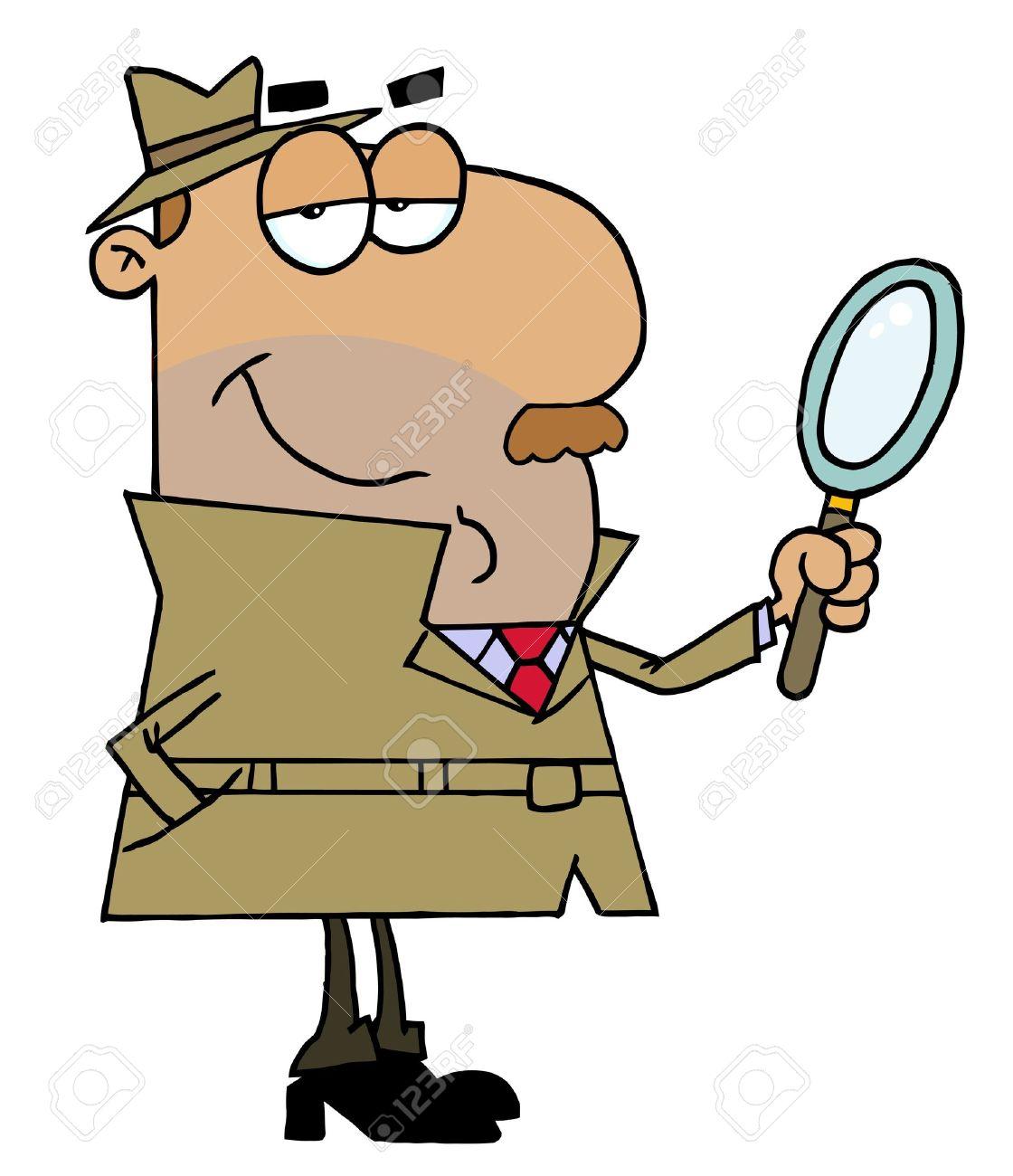Hispanic Cartoon Detective Man Stock Vector - 6905716