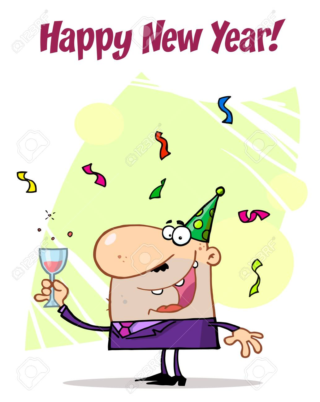 Happy New Year Greeting Of A Man Toasting At A Party Stock Vector - 6906411