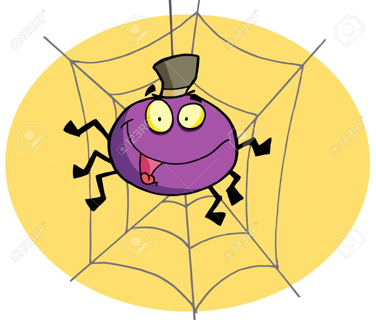 Purple Halloween Spider On A Web Royalty Free Cliparts, Vectors ...