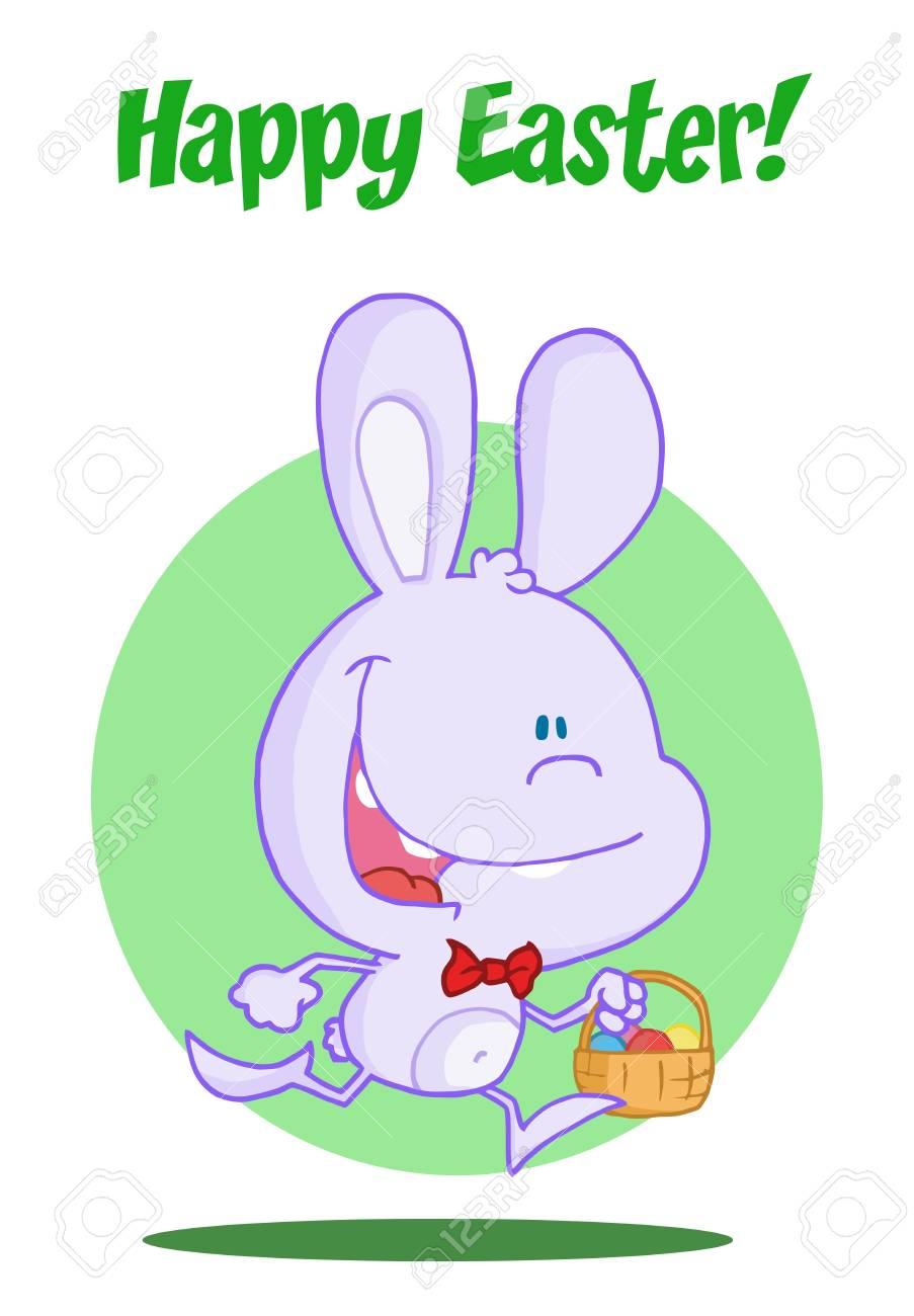 Purple bunny running with easter eggs in a basket Stock Vector - 6906121