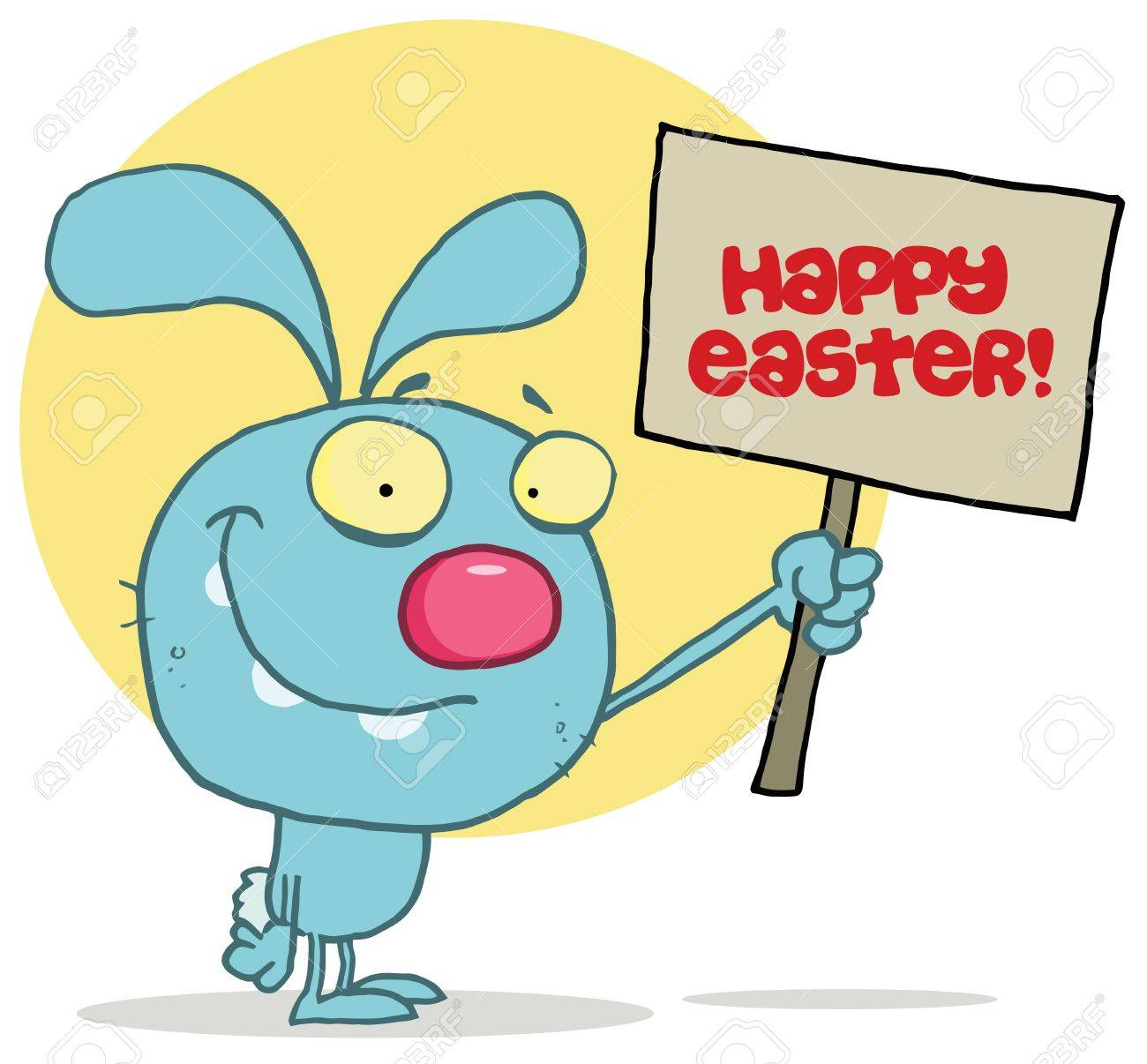 Easter rabbit holds Happy Easter! sign Stock Vector - 6906090