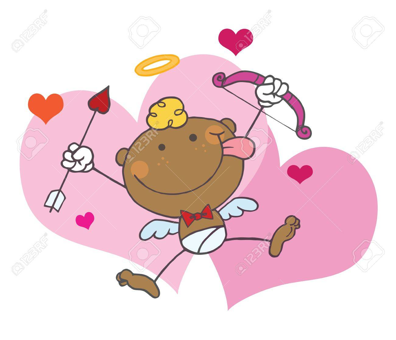 African American Cupid with Bow and Arrow Flying With Hearts,background Stock Vector - 6906042