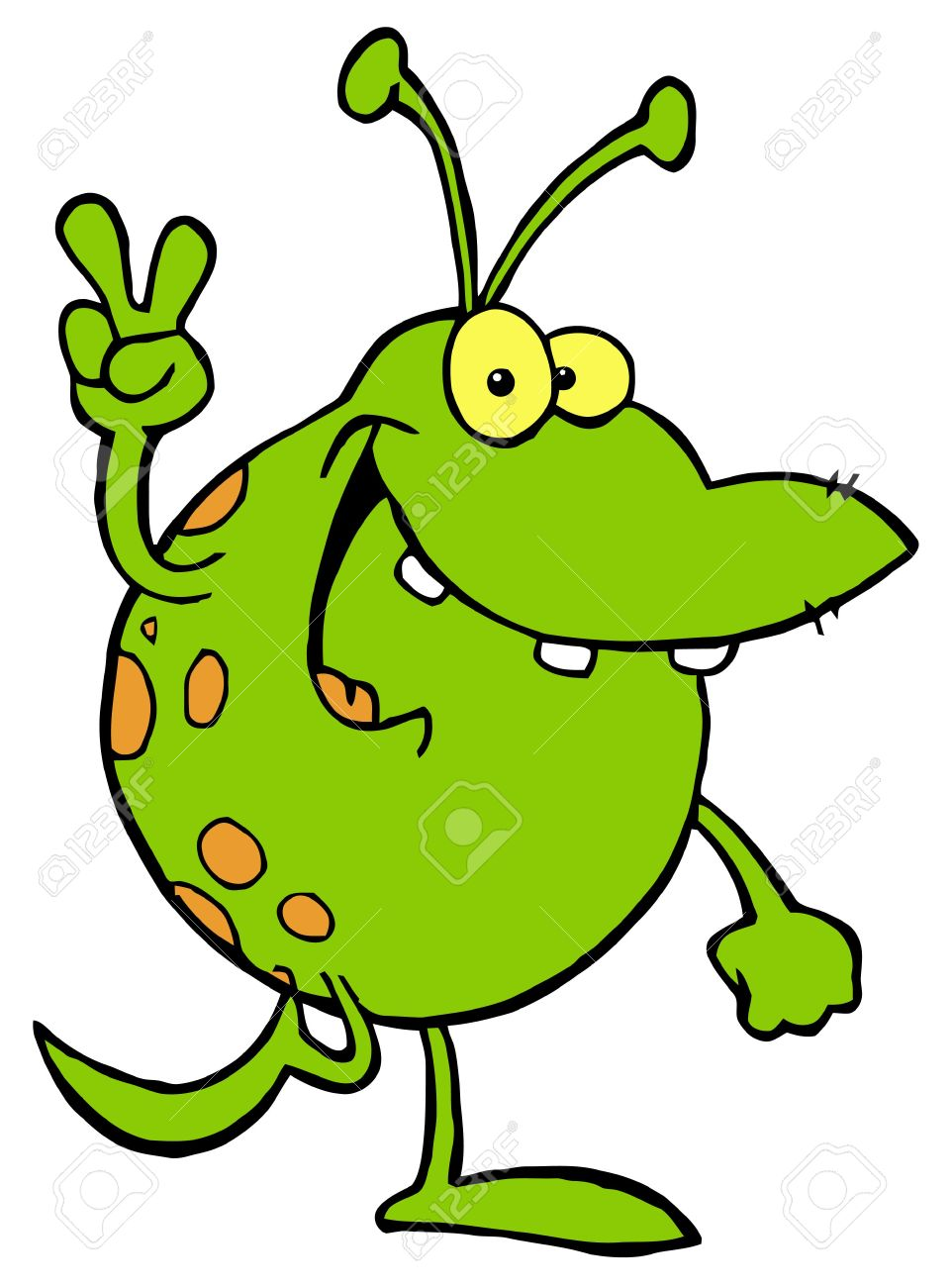 green alien smiling and gesturing the peace sign royalty free rh 123rf com Cute Frog Silhouette Cute Frogs