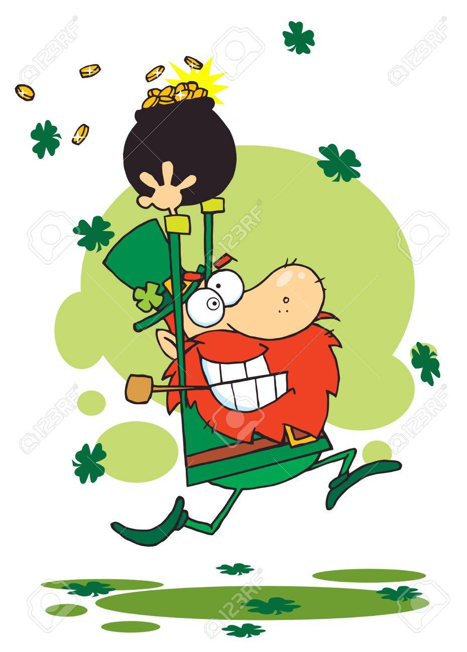 Greedy Leprechaun Running Through Shamrocks With A Pot Of Gold Over His Head Stock Vector - 6906720
