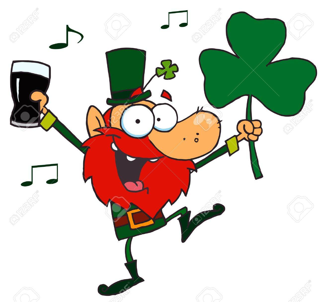 lucky leprechaun dancing with a glass of beer and shamrock royalty