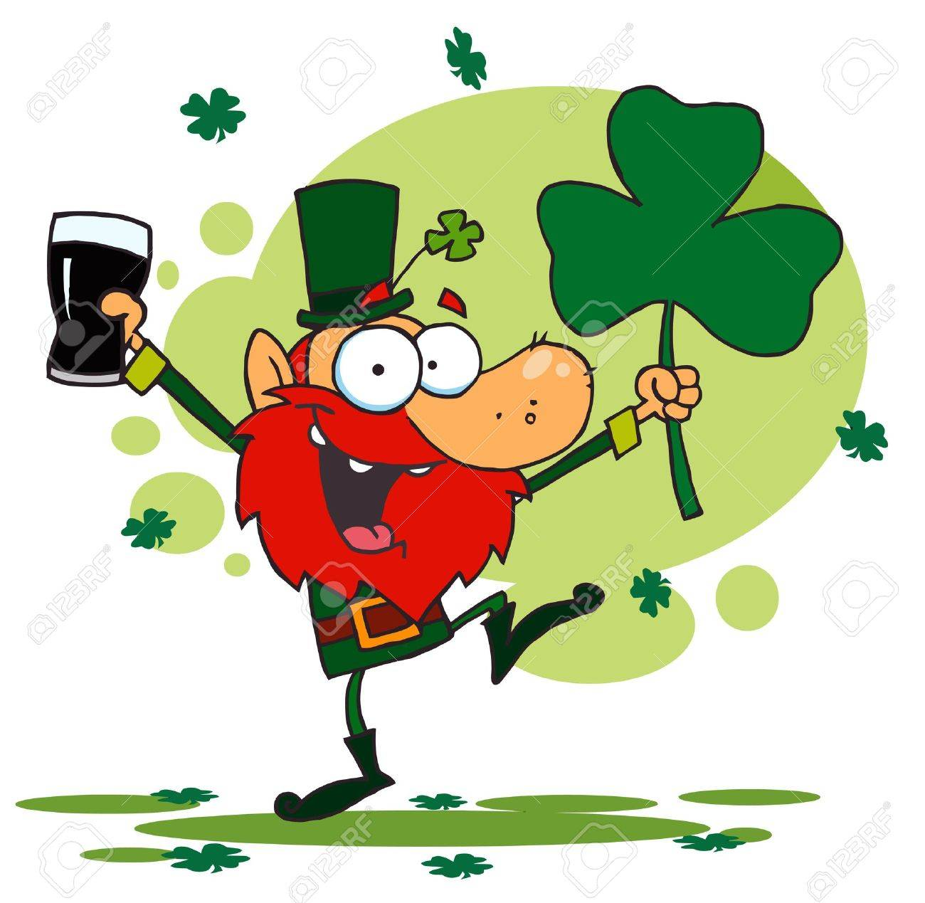 Uncategorized Dancing Leprechauns dancing leprechaun holding a shamrock and beer royalty free stock vector 6906315