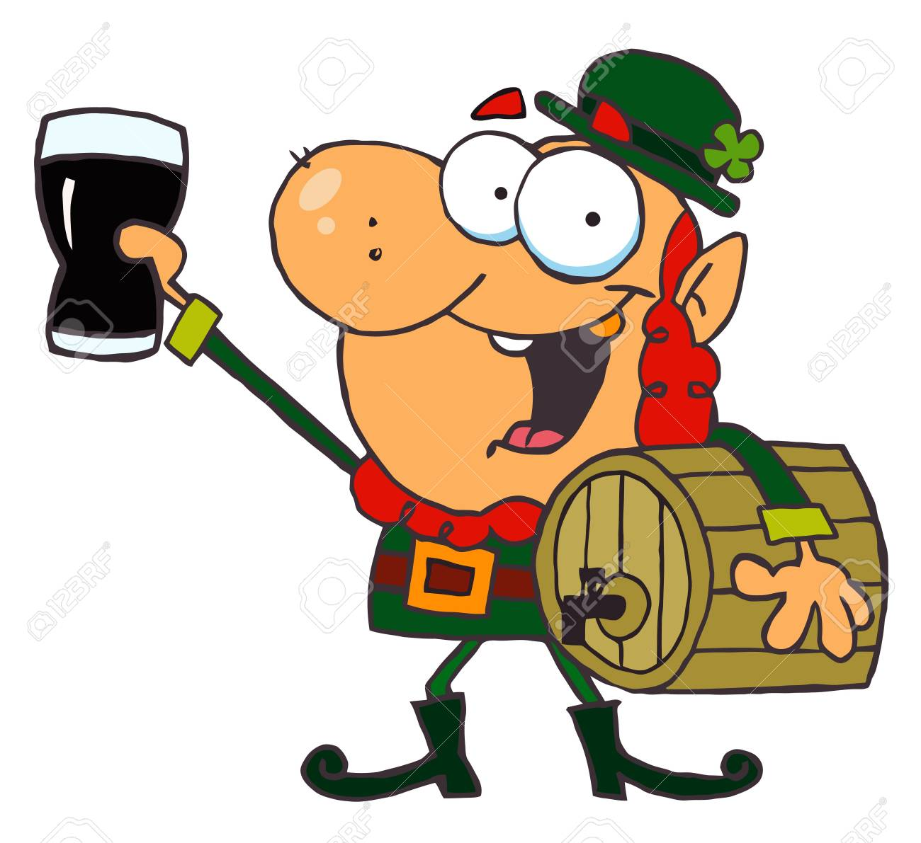 Lucky Leprechaun Toasting With A Glass And Carrying A Keg Stock Vector - 6906145