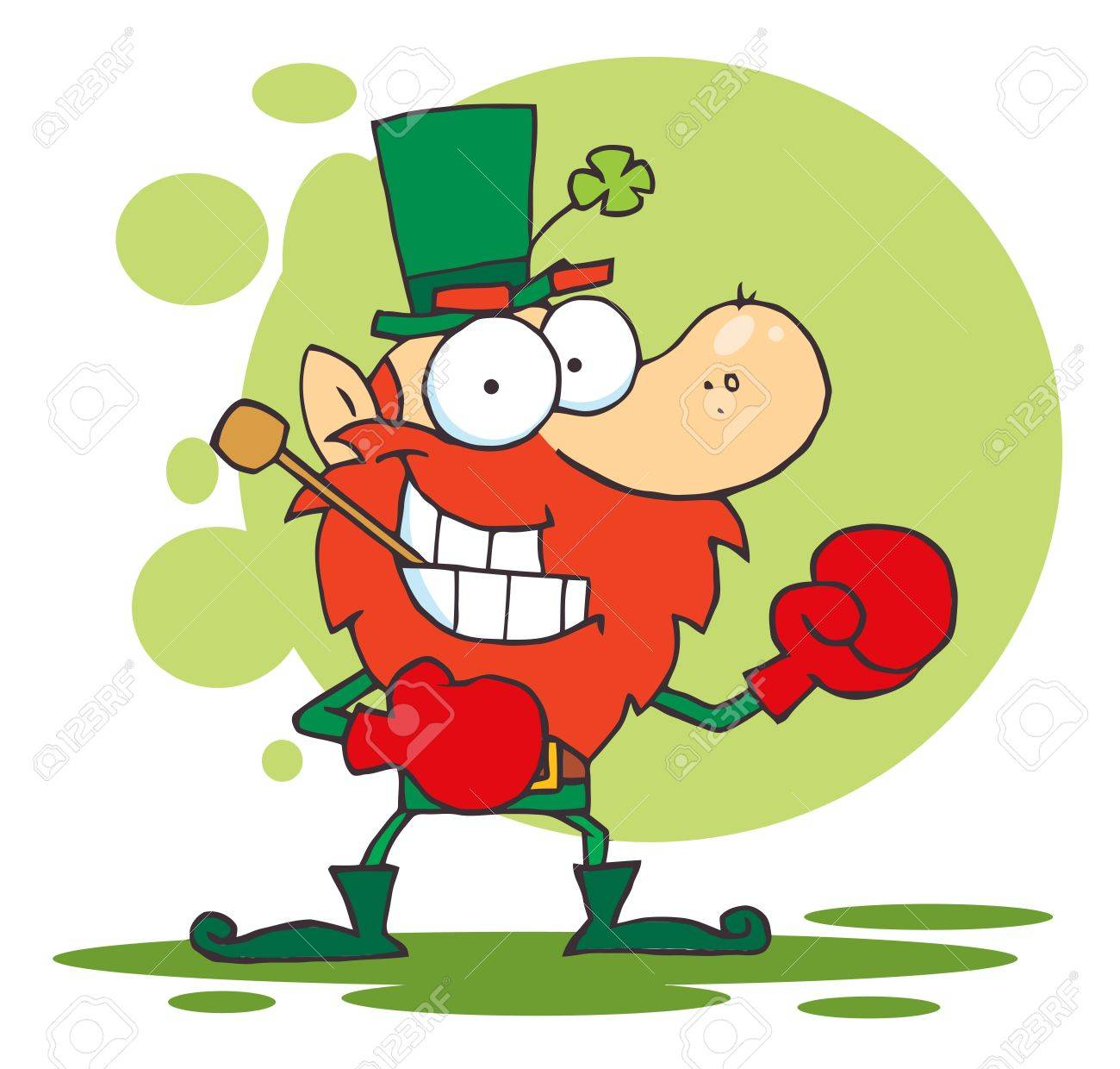 Boxing Leprechaun With A Pipe In His Mouth Stock Vector - 6906076