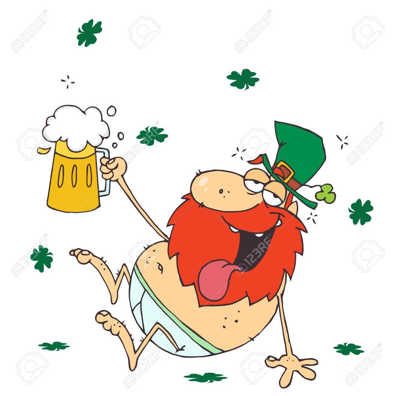 Drunk Leprechaun Lying Naked With Beer Stock Vector - 6906347