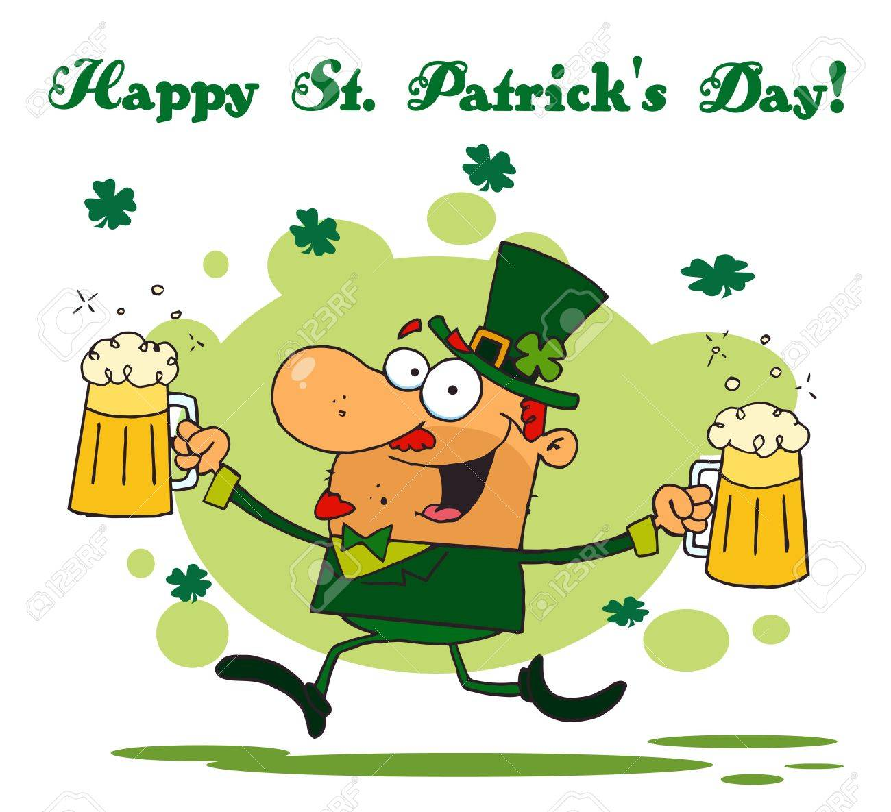happy st patrick u0027s day greeting of a leprechaun running with