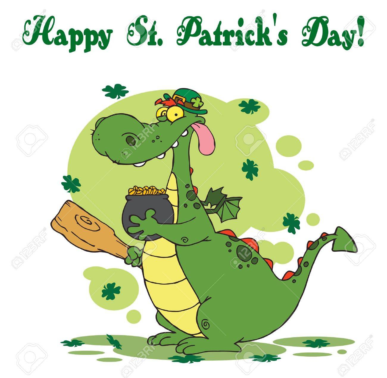 Happy St Patrick's Day Greeting Of A Leprechaun Dragon With  Gold Stock Vector - 6906795