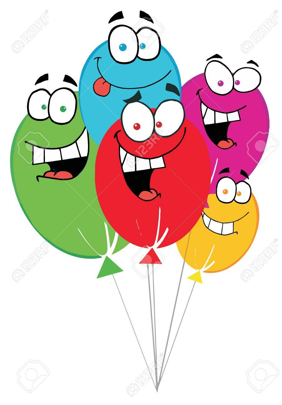 Funny balloon faces - Happy Birthday Baloons Stock Vector 6905321