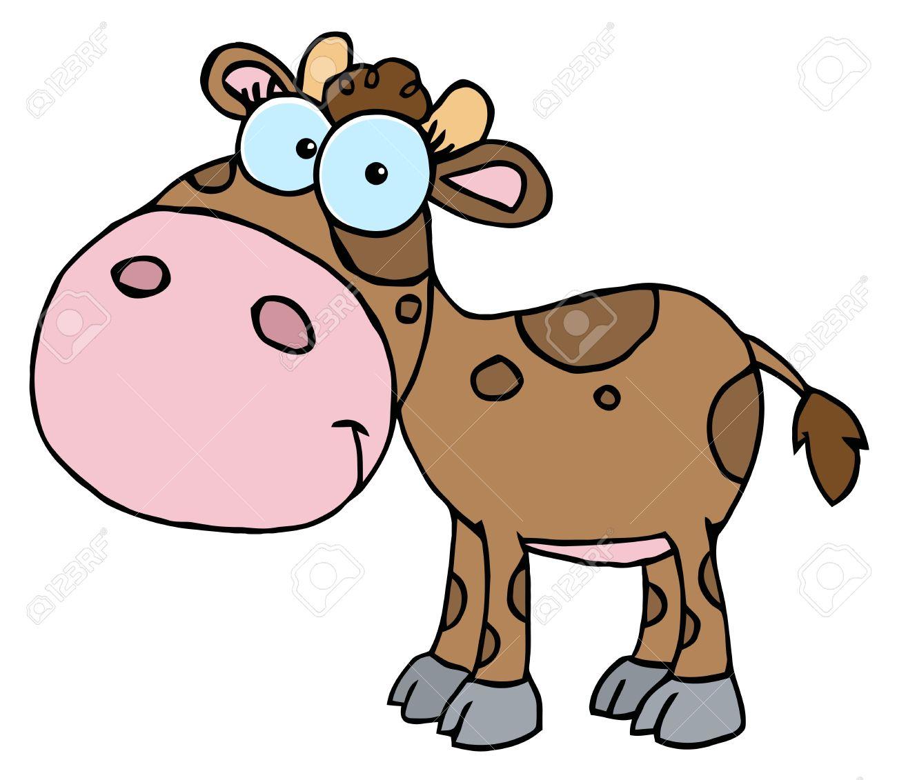 Mascot Cartoon Character Cute Little Cow Stock Vector - 6905243