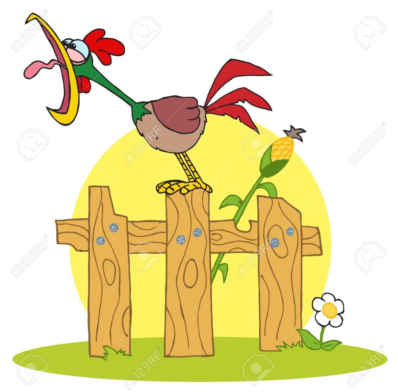 6905448-Dibujos-animados-caracteres-A-gallo-cantando-Stepped-On-The-Fence-Foto-de-archivo.jpg